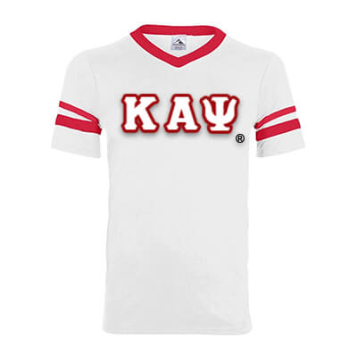 Kappa Alpha Psi Striped Tee with Twill Letters - Augusta 360 - TWILL