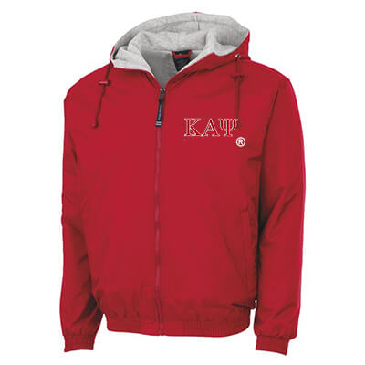 Kappa Alpha Psi Greek Fleece Lined Full Zip Jacket w/ Hood - Charles River 9921 - TWILL