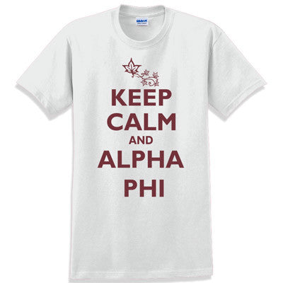 Keep Calm and Alpha Phi Printed T-Shirt - Gildan 5000 - CAD