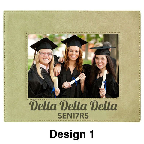 Custom Greek Graduation Engraved Leather Picture Frame - LLF157 - LZR