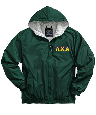 Lambda Chi Alpha Greek Fleece Lined Full Zip Jacket w/ Hood - Charles River 9921 - TWILL