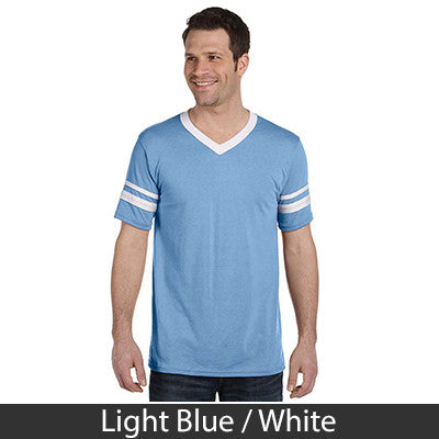 Zeta Beta Tau Striped Tee with Twill Letters - Augusta 360