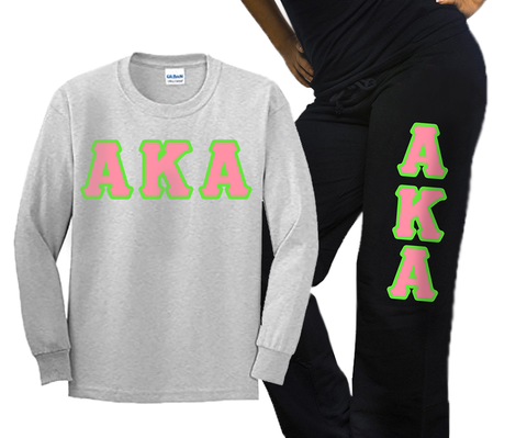 Alpha Kappa Alpha Longsleeve / Sweatpants Package - TWILL