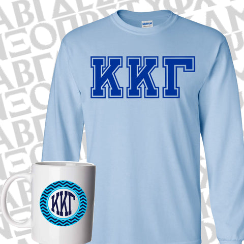 Bid Day Special - Sorority Varsity Printed Long-Sleeve T-Shirt and Custom Chevron Sorority Coffee Mug - Gildan 2400 - CAD - SM11 - SUB