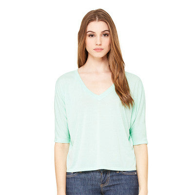Sorority Flowy V-Neck Cropped Tee with Twill - Bella 8825 - TWILL