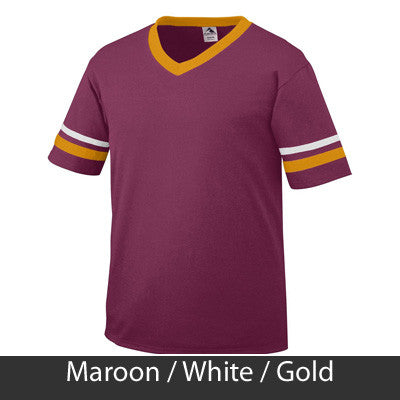 Greek Varsity Letter Printed Striped Tee - SALE Augusta 360 - CAD