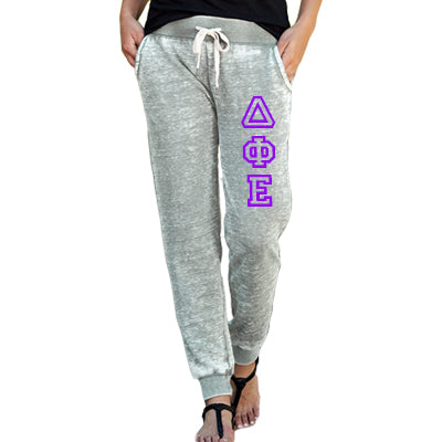 Sorority Printed Ladies Zen Jogger Pant with Vertical Letters - J America JA8944 - CAD