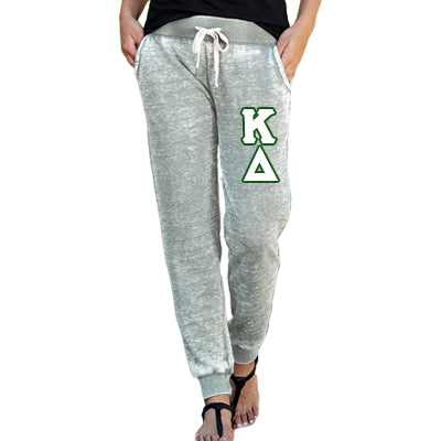 Ladies Sorority Zen Jogger Pant with Vertical Letters - J America JA8944 - TWILL