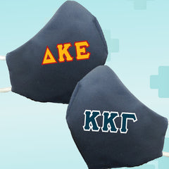 Greek Fraternity Sorority Letters Navy Reusable Face Mask Covering - Made in USA - 100% Cotton - Poppi 2.0 - DIG