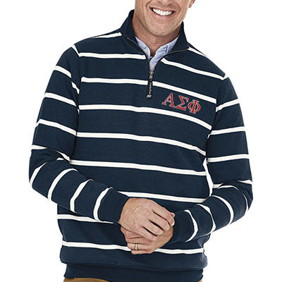 Fraternity Striped Crosswind Quarter-Zip Sweatshirt - CR9359S - EMB