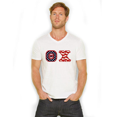 Stars & Stripes Fraternity V-Neck Tee with Horizontal Twill Letters - American Apparel 2456 - TWILL