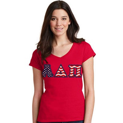Stars & Stripes Sorority V-Neck Tee with Horizontal Twill Letters - American Apparel 2456W - TWILL