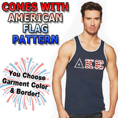 Stars & Stripes Fraternity Tank with Twill Letters - Next Level 3633 - TWILL