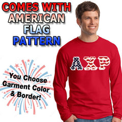 Stars & Stripes Fraternity Long Sleeve T-Shirt - Gildan 2400 - TWILL
