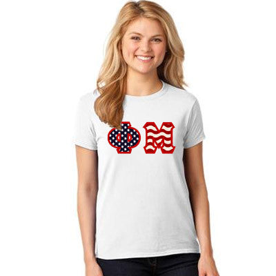 Stars & Stripes Sorority Lettered T-Shirt - Gildan 5000 - TWILL
