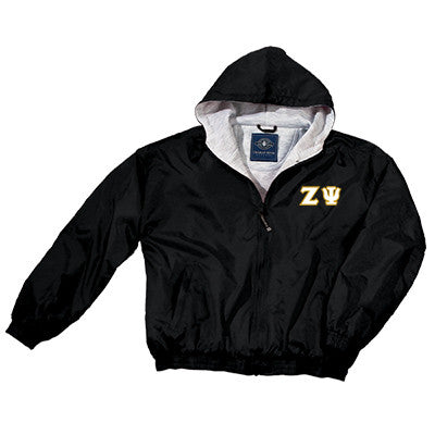Zeta Psi Greek Fleece Lined Full Zip Jacket w/ Hood - Charles River 9921 - TWILL
