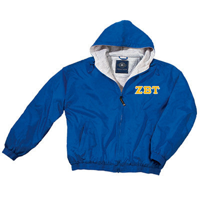 Zeta Beta Tau Greek Fleece Lined Full Zip Jacket w/ Hood - Charles River 9921 - TWILL