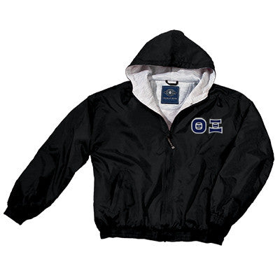 Theta Xi Greek Fleece Lined Full Zip Jacket w/ Hood - Charles River 9921 - TWILL