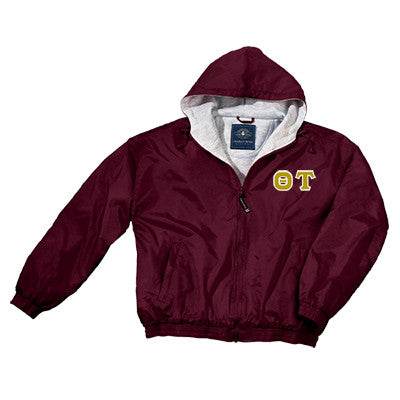 Theta Tau Greek Fleece Lined Full Zip Jacket w/ Hood - Charles River 9921 - TWILL