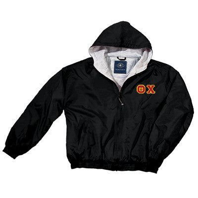 Theta Chi Greek Fleece Lined Full Zip Jacket w/ Hood - Charles River 9921 - TWILL