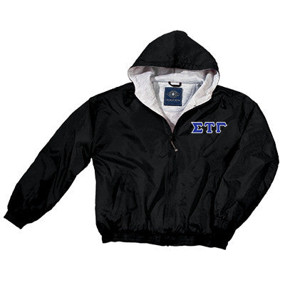 Sigma Tau Gamma Greek Fleece Lined Full Zip Jacket w/ Hood - Charles River 9921 - TWILL