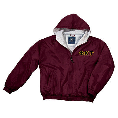 Phi Kappa Tau Greek Fleece Lined Full Zip Jacket w/ Hood - Charles River 9921 - TWILL