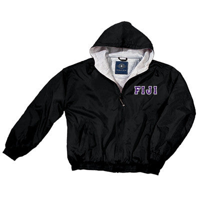 Phi Gamma Delta (FIJI) Greek Fleece Lined Full Zip Jacket w/ Hood - Charles River 9921 - TWILL
