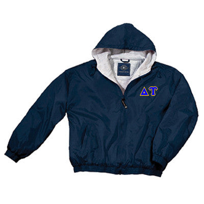 Delta Upsilon Greek Fleece Lined Full Zip Jacket w/ Hood - Charles River 9921 - TWILL