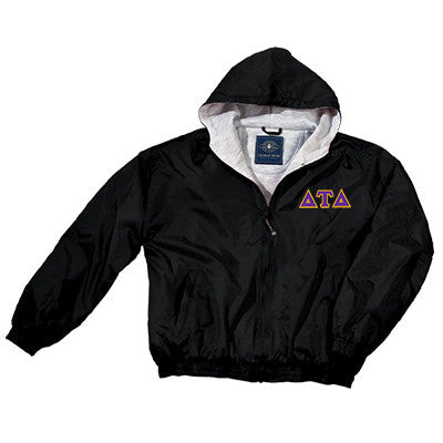 Delta Tau Delta Greek Fleece Lined Full Zip Jacket w/ Hood - Charles River 9921 - TWILL