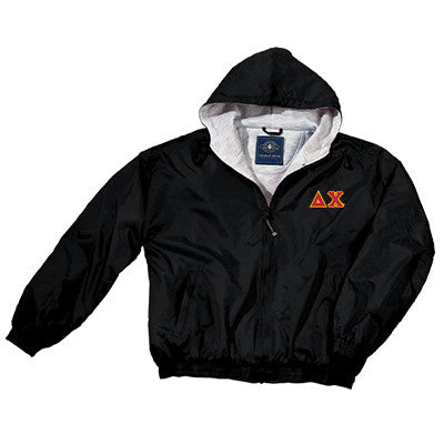 Delta Chi Greek Fleece Lined Full Zip Jacket w/ Hood - Charles River 9921 - TWILL