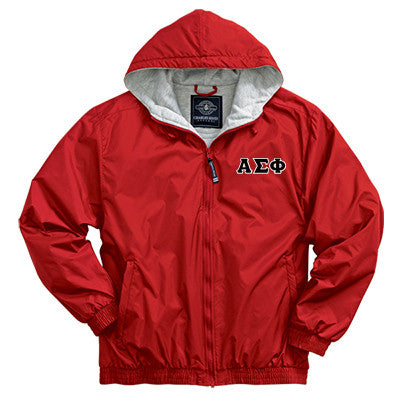 Alpha Sigma Phi Greek Fleece Lined Full Zip Jacket w/ Hood - Charles River 9921 - TWILL