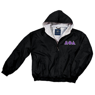 Alpha Phi Delta Greek Fleece Lined Full Zip Jacket w/ Hood - Charles River 9921 - TWILL