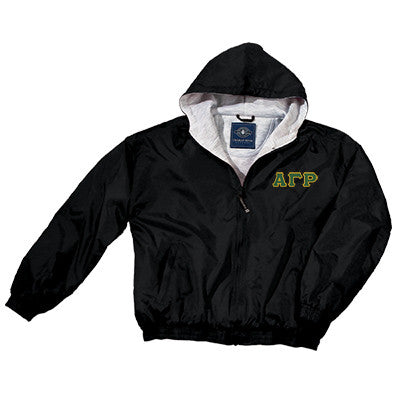 Alpha Gamma Rho Greek Fleece Lined Full Zip Jacket w/ Hood - Charles River 9921 - TWILL