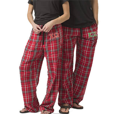 Fraternity and Sorority Vertical Lettered Unisex Flannel Pants with Pockets - Boxercraft F20 - EMB