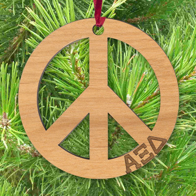 Greek Engraved Peace Sign Ornament - LZR