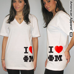 I Love Phi Mu Printed V-Neck Tee - American Apparel 2456 - CAD