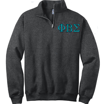 Phi Beta Sigma Fraternity Embroidered Quarter-Zip Pullover - Jerzees 995M - EMB