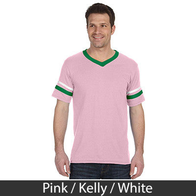 Delta Upsilon Striped Tee with Twill Letters - Augusta 360 - TWILL