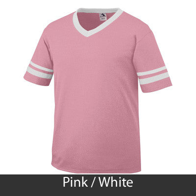 Alpha Sigma Tau Striped Tee with Twill Letters - Augusta 360 - TWILL