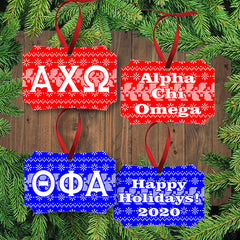 Greek Sorority Fraternity Letter Holiday Gloss Aluminum Ornament - Unisub UN4194 - SUB