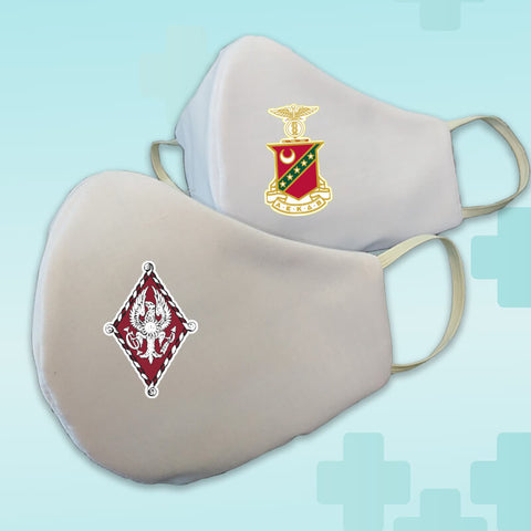 Greek Fraternity Sorority Crest White Washable Face Mask Covering - Made in USA - 100% Cotton - Poppi 2.0 - DIG