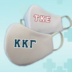 Greek Fraternity Sorority Letters White Reusable Face Mask Covering - Made in USA - 100% Cotton - Poppi 2.0 - DIG