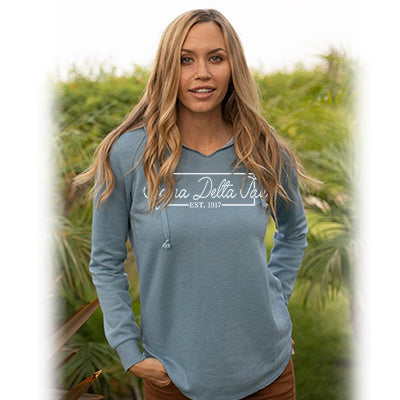 Lightweight Cali Wavewash Hoodie with Box Design - CAD - PRM2500