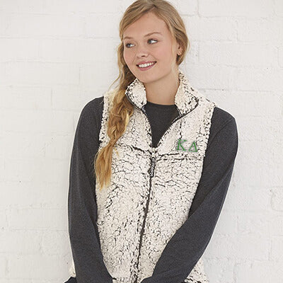 Greek Sorority Ladies Women Sherpa Full-zip Vest - Boxercraft Q11 - EMB