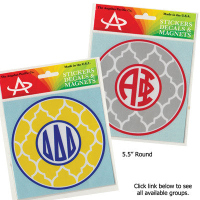 Sorority Quatrefoil Monogram Sticker - Angelius Pacific ap39