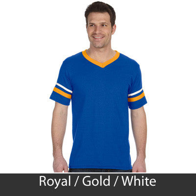 Alpha Phi Omega Striped Tee with Twill Letters - Augusta 360 - TWILL