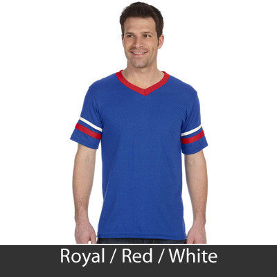 Tau Kappa Epsilon Striped Tee with Twill Letters - Augusta 360 - TWILL