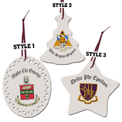 Greek Christmas Ornament with Full Color Crest - SUB - Greek Christmas Ornament With Full Color Crest - Greek Merchandise