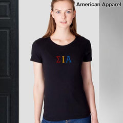 Sigma Iota Alpha Embroidered Jersey Tee - American Apparel 2102W  - EMB