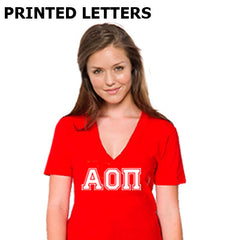 Varsity Printed Sorority V-Neck Tee - American Apparel 2456 - CAD